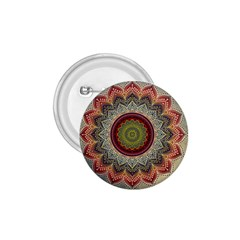 Folk Art Lotus Mandala Dirty Blue Red 1 75  Buttons