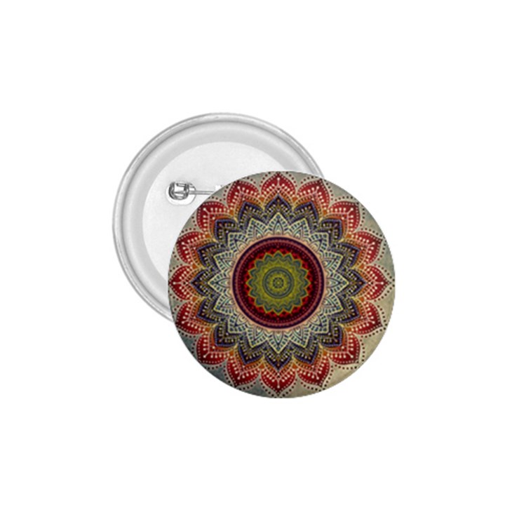 Folk Art Lotus Mandala Dirty Blue Red 1.75  Buttons
