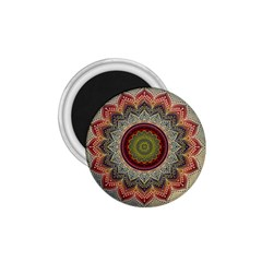 Folk Art Lotus Mandala Dirty Blue Red 1 75  Magnets