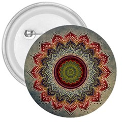 Folk Art Lotus Mandala Dirty Blue Red 3  Buttons