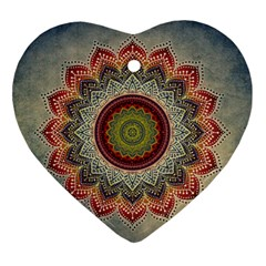 Folk Art Lotus Mandala Dirty Blue Red Ornament (Heart)