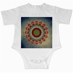 Folk Art Lotus Mandala Dirty Blue Red Infant Creepers