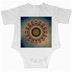 Folk Art Lotus Mandala Dirty Blue Red Infant Creepers Front
