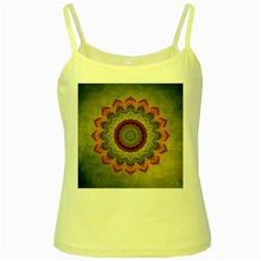 Folk Art Lotus Mandala Dirty Blue Red Yellow Spaghetti Tank