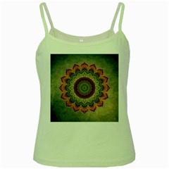 Folk Art Lotus Mandala Dirty Blue Red Green Spaghetti Tank