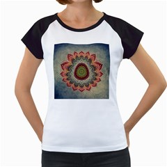 Folk Art Lotus Mandala Dirty Blue Red Women s Cap Sleeve T