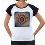 Folk Art Lotus Mandala Dirty Blue Red Women s Cap Sleeve T Front