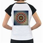 Folk Art Lotus Mandala Dirty Blue Red Women s Cap Sleeve T Back