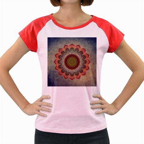 Folk Art Lotus Mandala Dirty Blue Red Women s Cap Sleeve T-Shirt