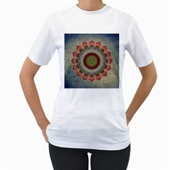 Folk Art Lotus Mandala Dirty Blue Red Women s T-Shirt (White) (Two Sided)
