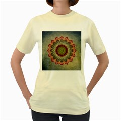 Folk Art Lotus Mandala Dirty Blue Red Women s Yellow T Shirt