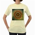 Folk Art Lotus Mandala Dirty Blue Red Women s Yellow T-Shirt Front