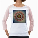 Folk Art Lotus Mandala Dirty Blue Red Girly Raglans Front