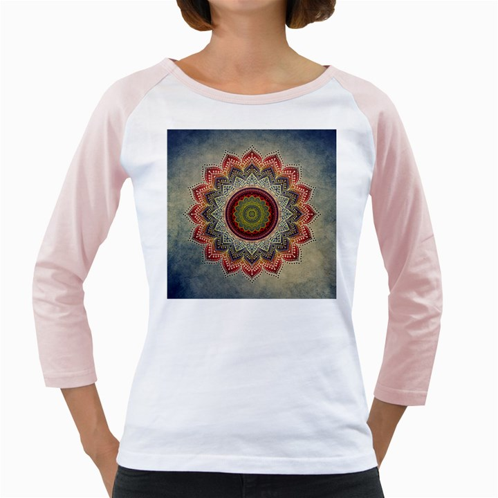 Folk Art Lotus Mandala Dirty Blue Red Girly Raglans