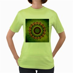 Folk Art Lotus Mandala Dirty Blue Red Women s Green T Shirt
