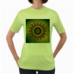 Folk Art Lotus Mandala Dirty Blue Red Women s Green T-Shirt Front