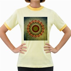Folk Art Lotus Mandala Dirty Blue Red Women s Fitted Ringer T-Shirts