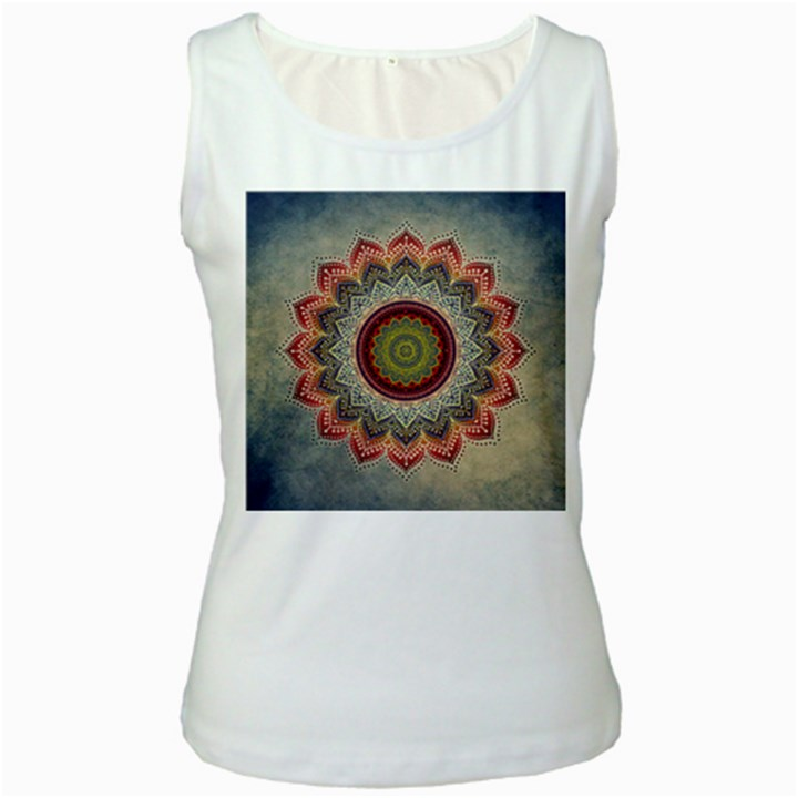 Folk Art Lotus Mandala Dirty Blue Red Women s White Tank Top
