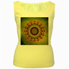 Folk Art Lotus Mandala Dirty Blue Red Women s Yellow Tank Top