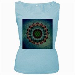 Folk Art Lotus Mandala Dirty Blue Red Women s Baby Blue Tank Top