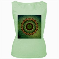 Folk Art Lotus Mandala Dirty Blue Red Women s Green Tank Top