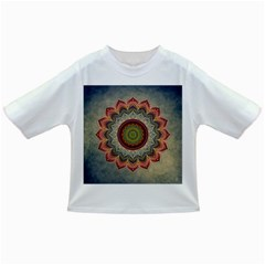 Folk Art Lotus Mandala Dirty Blue Red Infant/Toddler T-Shirts