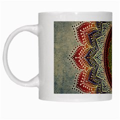 Folk Art Lotus Mandala Dirty Blue Red White Mugs