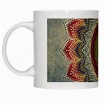 Folk Art Lotus Mandala Dirty Blue Red White Mugs Left