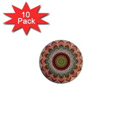Folk Art Lotus Mandala Dirty Blue Red 1  Mini Magnet (10 pack)