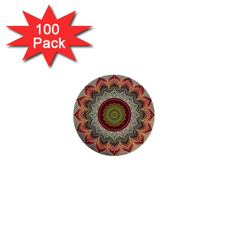 Folk Art Lotus Mandala Dirty Blue Red 1  Mini Buttons (100 pack)
