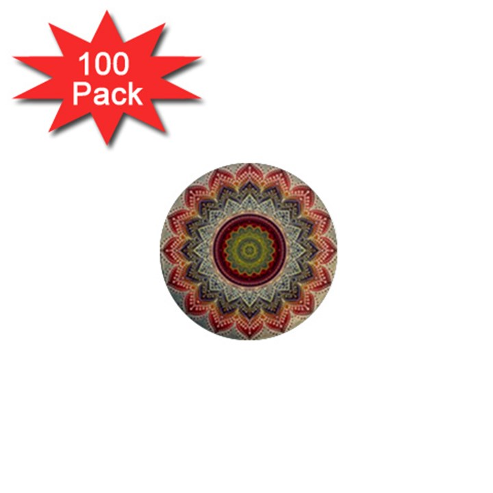 Folk Art Lotus Mandala Dirty Blue Red 1  Mini Magnets (100 pack)