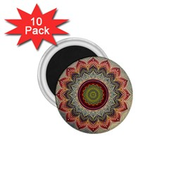 Folk Art Lotus Mandala Dirty Blue Red 1.75  Magnets (10 pack)