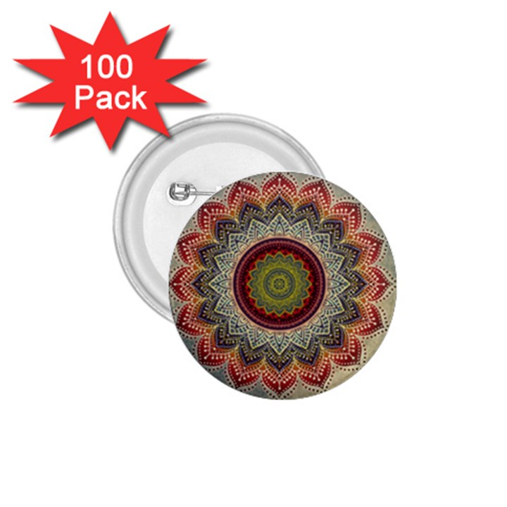 Folk Art Lotus Mandala Dirty Blue Red 1.75  Buttons (100 pack)