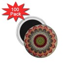 Folk Art Lotus Mandala Dirty Blue Red 1.75  Magnets (100 pack)  Front
