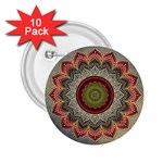 Folk Art Lotus Mandala Dirty Blue Red 2.25  Buttons (10 pack)  Front