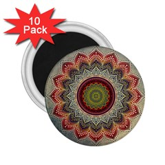 Folk Art Lotus Mandala Dirty Blue Red 2 25  Magnets (10 Pack)