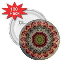 Folk Art Lotus Mandala Dirty Blue Red 2.25  Buttons (100 pack)