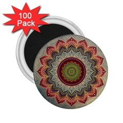 Folk Art Lotus Mandala Dirty Blue Red 2.25  Magnets (100 pack)