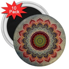 Folk Art Lotus Mandala Dirty Blue Red 3  Magnets (10 pack)