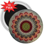 Folk Art Lotus Mandala Dirty Blue Red 3  Magnets (10 pack)  Front