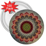 Folk Art Lotus Mandala Dirty Blue Red 3  Buttons (100 pack)  Front