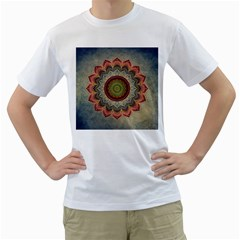 Folk Art Lotus Mandala Dirty Blue Red Men s T-Shirt (White) (Two Sided)