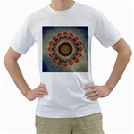 Folk Art Lotus Mandala Dirty Blue Red Men s T-Shirt (White) (Two Sided) Front