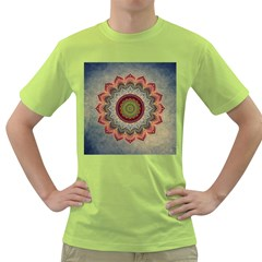 Folk Art Lotus Mandala Dirty Blue Red Green T Shirt