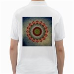 Folk Art Lotus Mandala Dirty Blue Red Golf Shirts Back