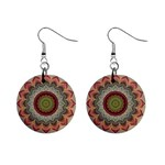Folk Art Lotus Mandala Dirty Blue Red Mini Button Earrings Front