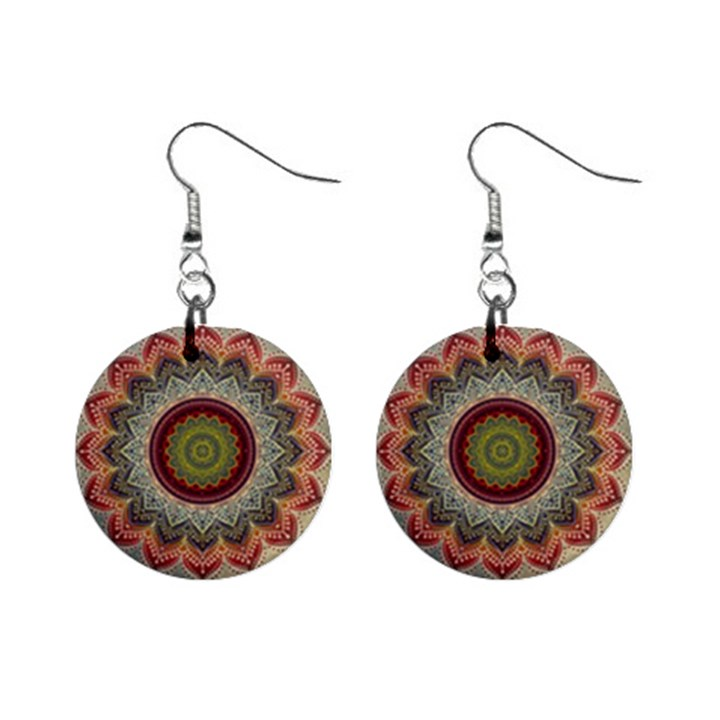 Folk Art Lotus Mandala Dirty Blue Red Mini Button Earrings