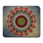 Folk Art Lotus Mandala Dirty Blue Red Large Mousepads Front