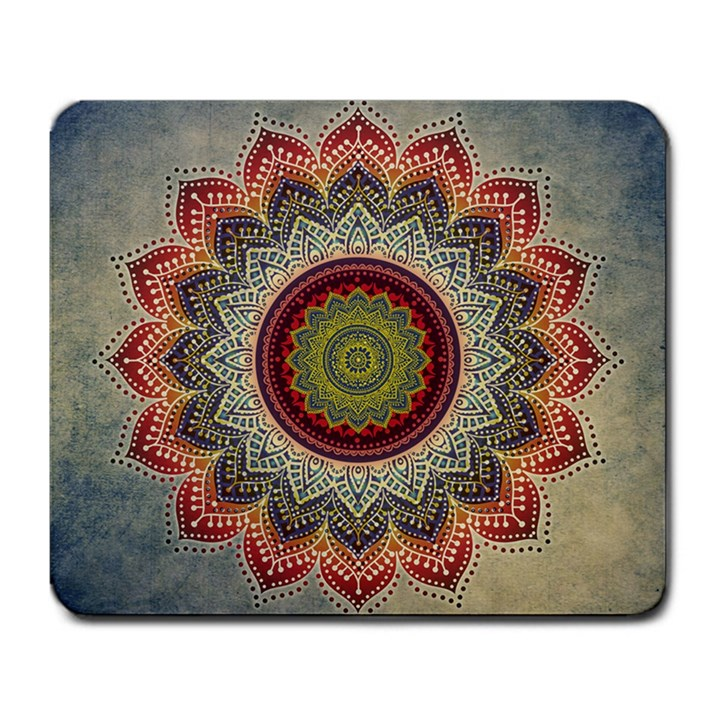 Folk Art Lotus Mandala Dirty Blue Red Large Mousepads