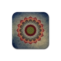 Folk Art Lotus Mandala Dirty Blue Red Rubber Coaster (square)